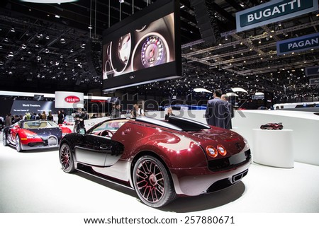 "GENEVA, MAR 3: Bugatti Veyron ""La Finale"", presented at the 85th International Motor Show in Geneva, Switzerland on March 3, 2015. - stock photo"
