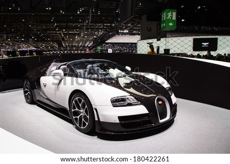 GENEVA, MAR 4: Bugatti Veyron Sport Vitesse, presented at the 84th International Motor Show in Geneva, Switzerland on March 4, 2014. - stock photo