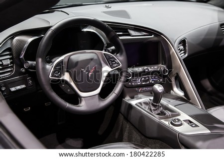 GENEVA, MAR 4: Chevrolet Corvette Stingray car interiors, presented at the 84th International Motor Show in Geneva, Switzerland on March 4, 2014. - stock photo