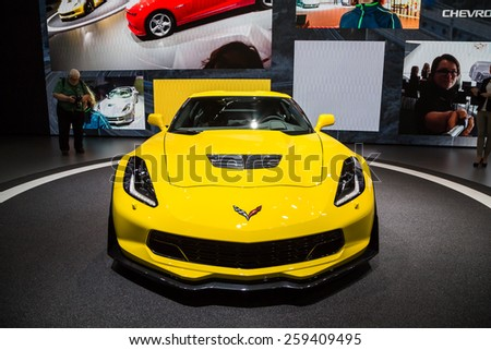 GENEVA, MAR 3: Chevrolet Corvette Stingray, presented at the 85th International Motor Show in Geneva, Switzerland on March 3, 2015. - stock photo
