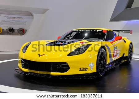 GENEVA, MAR 4: Corvette GTR Race Car displayed at the 84th International Motor Show International Motor Show in Geneva, Switzerland on March 4, 2014. - stock photo