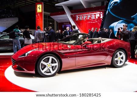 GENEVA, MAR 4: Ferrari, at the 84th International Motor Show in Geneva, Switzerland on March 4, 2014 - stock photo