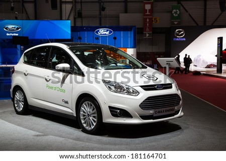 GENEVA, MAR 4: Ford C-max energi, presented at the 84th International Motor Show in Geneva, Switzerland on March 4, 2014. - stock photo