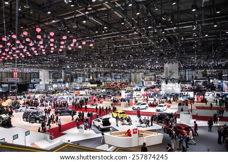 GENEVA, MAR 3: General view at the 85th International Motor Show in Geneva, Switzerland on March 3, 2015. - stock photo