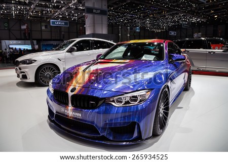 GENEVA, MAR 3: Hamann Motorsport car, presented at the 85th International Motor Show in Geneva, Switzerland on March 3, 2015. - stock photo