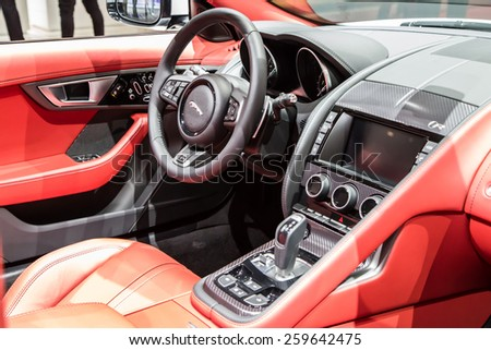 GENEVA, MAR 3: Jaguar F-Type car interiors, presented at the 85th International Motor Show in Geneva, Switzerland on March 3, 2015. - stock photo