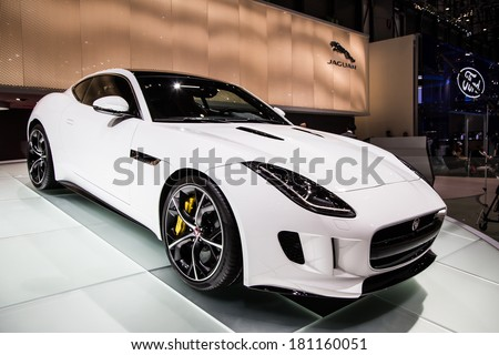 GENEVA, MAR 4: Jaguar F-TYPE R Coup�©, presented at the 84th International Motor Show in Geneva, Switzerland on March 4, 2014. - stock photo