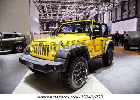 GENEVA, MAR 3: Jeep Wrangler Unlimited Rubicon, presented at the 85th International Motor Show in Geneva, Switzerland on March 3, 2015. - stock photo