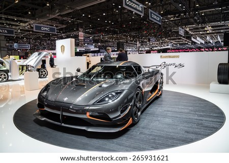 GENEVA, MAR 3: Koenigsegg Agera RS car, presented at the 85th International Motor Show in Geneva, Switzerland on March 3, 2015. - stock photo