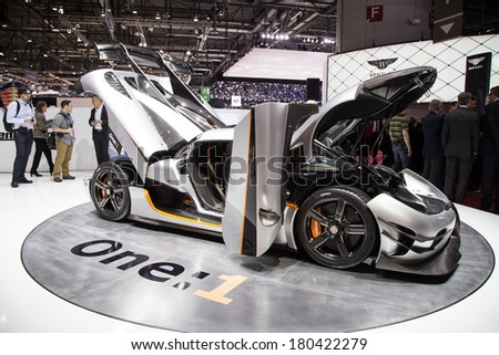 GENEVA, MAR 4: Koenigsegg One:1, presented at the 84th International Motor Show in Geneva, Switzerland on March 4, 2014. - stock photo