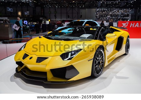 GENEVA, MAR 3: Lamborghini car, presented at the 85th International Motor Show in Geneva, Switzerland on March 3, 2015. - stock photo