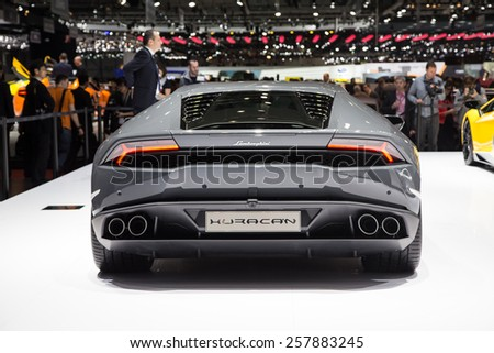 GENEVA, MAR 3: Lamborghini Huracan, presented at the 85th International Motor Show in Geneva, Switzerland on March 3, 2015. - stock photo