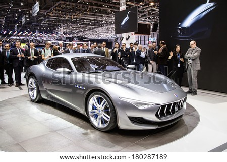 GENEVA, MAR 4: Maserati Alfieri, presented at the 84th International Motor Show in Geneva, Switzerland on March 4, 2014. - stock photo