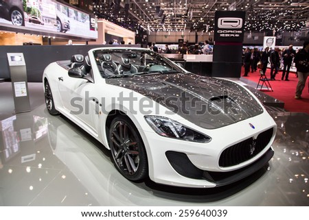 GENEVA, MAR 3: Maserati Grancabrio MC, presented at the 85th International Motor Show in Geneva, Switzerland on March 3, 2015. - stock photo
