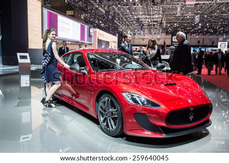 GENEVA, MAR 3: Maserati GranTurismo MC Stradale with model, presented at the 85th International Motor Show in Geneva, Switzerland on March 3, 2015. - stock photo