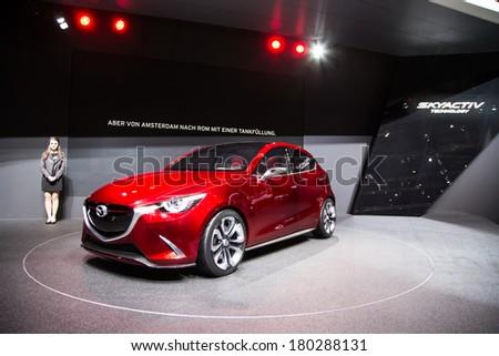 GENEVA, MAR 4: Mazda Skyactiv, presented at the 84th International Motor Show in Geneva, Switzerland on March 4, 2014. - stock photo