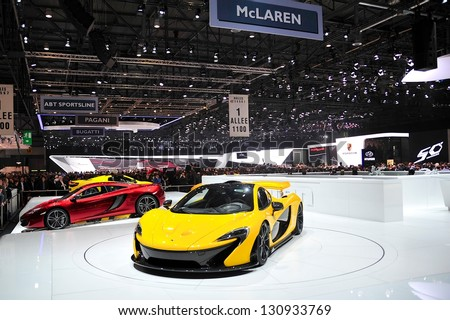 GENEVA, MAR 5: McLaren Stand at the 83rd Geneva Motor Show, in Switzerland on March 5, 2013. - stock photo