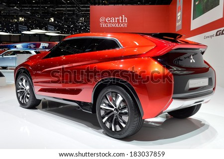 GENEVA, MAR 4: Mitsubishi Concept displayed at the 84th International Motor Show International Motor Show in Geneva, Switzerland on March 4, 2014. - stock photo