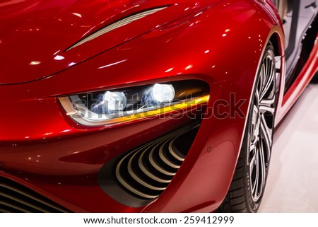 GENEVA, MAR 3: NanoFlowcell Quant F concept car headlight details, presented at the 85th International Motor Show in Geneva, Switzerland on March 3, 2015.  - stock photo