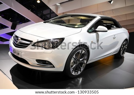 GENEVA, MAR 5: Opel Cascada, presented at the 83rd Geneva Motor Show, in Switzerland on March 5, 2013.