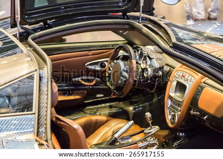 GENEVA, MAR 3: Pagani Huayra car interior, presented at the 85th International Motor Show in Geneva, Switzerland on March 3, 2015. - stock photo