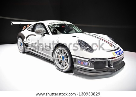 GENEVA, MAR 5: Porsche 911 GT3 CUP, at the 83rd Geneva Motor Show, in Switzerland on March 5, 2013.