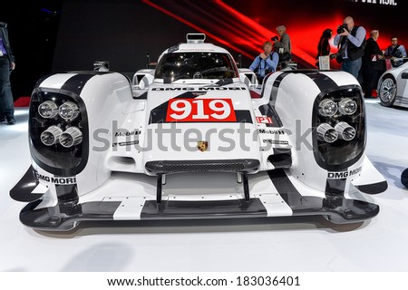 GENEVA, MAR 4: Porsche 919 Race Car displayed at the 84th International Motor Show International Motor Show in Geneva, Switzerland on March 4, 2014. - stock photo