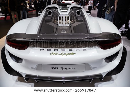 GENEVA, MAR 3: Porsche 918 Spyder car, presented at the 85th International Motor Show in Geneva, Switzerland on March 3, 2015. - stock photo