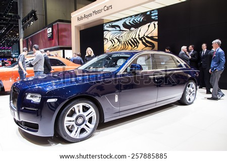 GENEVA, MAR 3: Rolls-Royce car, presented at the 85th International Motor Show in Geneva, Switzerland on March 3, 2015.