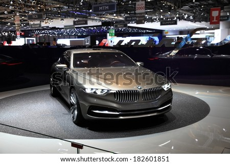 GENEVA, MARCH 6 : A BMW car on display at 84th international Geneva motor show Show Palexpo-Geneva on March 6, 2014 in Geneva, Switzerland.