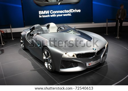 GENEVA - MARCH 3: A  BMW Connected Drive (in touch with your word) car show on display at 81th International Motor Show Palexpo-Geneva on March 3, 2010 in Geneva, Switzerland. - stock photo