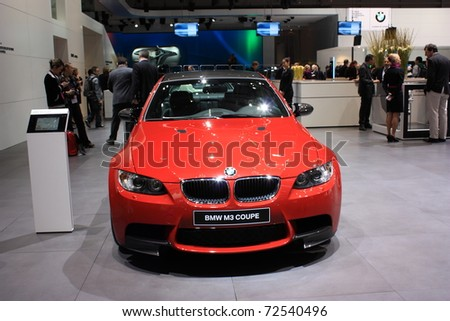 GENEVA - MARCH 3 : A  BMW M3 COUPE car show on display at 81th International Motor Show Palexpo-Geneva on March 3, 2010 in Geneva, Switzerland. - stock photo