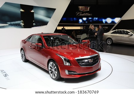 GENEVA, MARCH 6 : A Cadillac ATS coupe car on display at 84th international Geneva motor Show at Palexpo-Geneva on March 6, 2014 in Geneva, Switzerland.