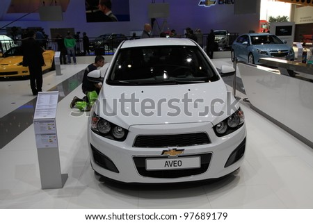 GENEVA, MARCH 8 : A Chevrolet AVEO car on display at 82th International Motor Show Palexpo-Geneva on March 8, 2012 in Geneva, Switzerland.