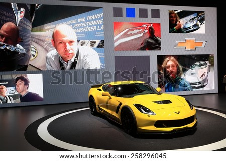 GENEVA, MARCH 3:A  Chevrolet corvette Stingray car on display at 85th international Geneva motor Show at Palexpo-Geneva on March 3, 2015 at Geneva, Switzerland.  - stock photo