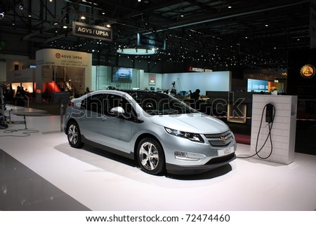 GENEVA - MARCH 3 : A Chevrolet  VOLT car on display at 81th International Motor Show Palexpo-Geneva on March 3, 2010 in Geneva, Switzerland. - stock photo