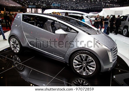 GENEVA - MARCH 8: A concept car from Cadillac on display at the 81st International Motor Show Palexpo-Geneva on March 8, 2011  in Geneva, Switzerland.