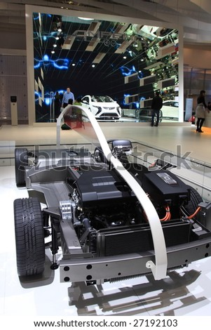 GENEVA - MARCH 7: A Conceptual car structure on display at 79th International Motor Show Palexpo-Geneva on March 07, 2009 in Geneva, Switzerland. More than 130 vehicles were introduced.