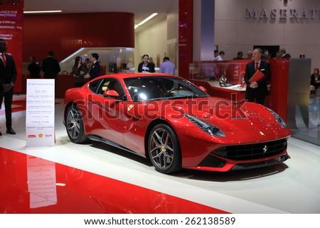 GENEVA, MARCH 3:A Ferrari F12 berlinetta car on display at 85th international Geneva motor Show at Palexpo-Geneva on March 3, 2015 at Geneva, Switzerland.  - stock photo