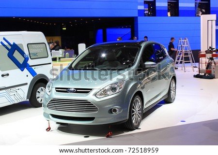 GENEVA - MARCH 3 : A FORD car show on display at 81th International Motor Show Palexpo-Geneva on March 3, 2010 in Geneva, Switzerland. - stock photo