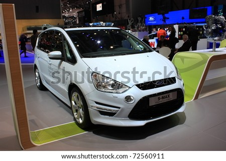GENEVA - MARCH 3 : A Ford S-MAX car show on display at 81th International Motor Show Palexpo-Geneva on March 3, 2010 in Geneva, Switzerland. - stock photo