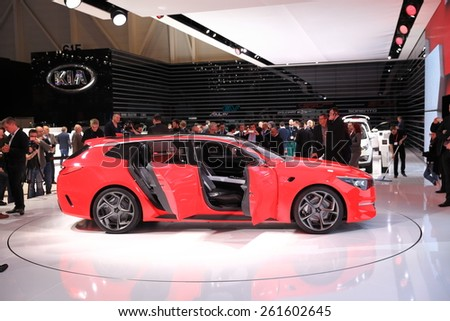 GENEVA, MARCH 3:A Kia pro_cee'd GT car on display at 85th international Geneva motor Show at Palexpo-Geneva on March 3, 2015 at Geneva, Switzerland.  - stock photo