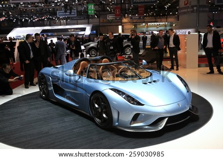 GENEVA, MARCH 3:A  Koenigsegg regera car on display at 85th international Geneva motor Show at Palexpo-Geneva on March 3, 2015 in Geneva, Switzerland.  - stock photo
