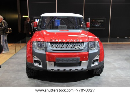 GENEVA, MARCH 8 : A LAND ROVER DC100 car on display at 82th International Motor Show Palexpo-Geneva on March 8, 2012 in Geneva, Switzerland.