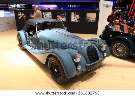 GENEVA, MARCH 3:A Morgan design car on display at 85th international Geneva motor Show at Palexpo-Geneva on March 3, 2015 at Geneva, Switzerland.  - stock photo
