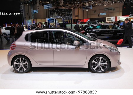 GENEVA, MARCH 8 : A peugeot 208 car on display at 82th International Motor Show Palexpo-Geneva on March 8, 2012 in Geneva, Switzerland.