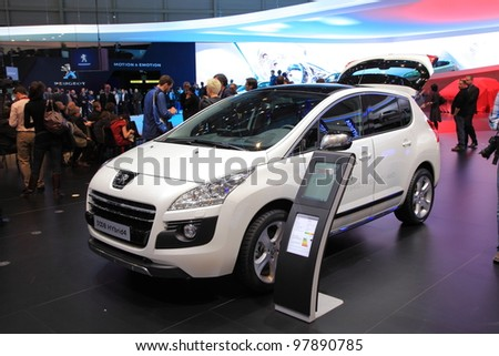 GENEVA, MARCH 8 : A peugeot 3008 HYbird4 car on display at 82th International Motor Show Palexpo-Geneva on March 8, 2012 in Geneva, Switzerland.