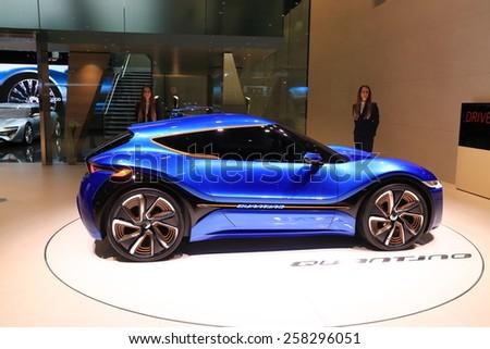 GENEVA, MARCH 3:A Quantino nanoFLOWCELL concept car on display at 85th international Geneva motor Show at Palexpo-Geneva on March 3, 2015 at Geneva, Switzerland.  - stock photo