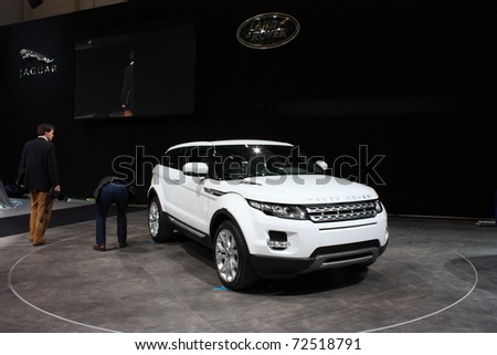 GENEVA - MARCH 3 : A  Range Rover  car show on display at 81th International Motor Show Palexpo-Geneva on March 3, 2010 in Geneva, Switzerland. - stock photo