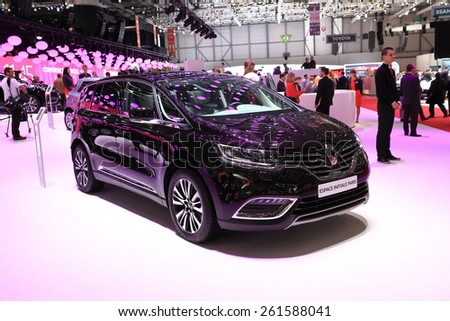 GENEVA, MARCH 3:A Renault Espace Initiale Paris -  France car on display at 85th international Geneva motor Show at Palexpo-Geneva on March 3, 2015 at Geneva, Switzerland.  - stock photo